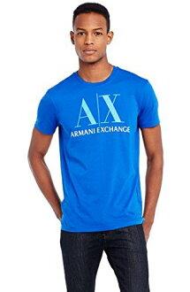 美國百分百【Armani Exchange】T恤 AX 短袖 logo 上衣 T-shirt 藍 M L號 男 E677