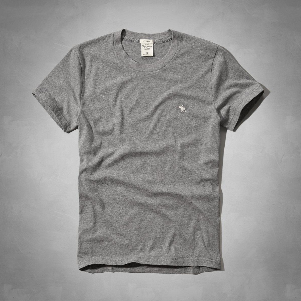 美國百分百【Abercrombie & Fitch】T恤 AF 短袖 上衣 T-shirt 麋鹿 灰色 素T S號 E709