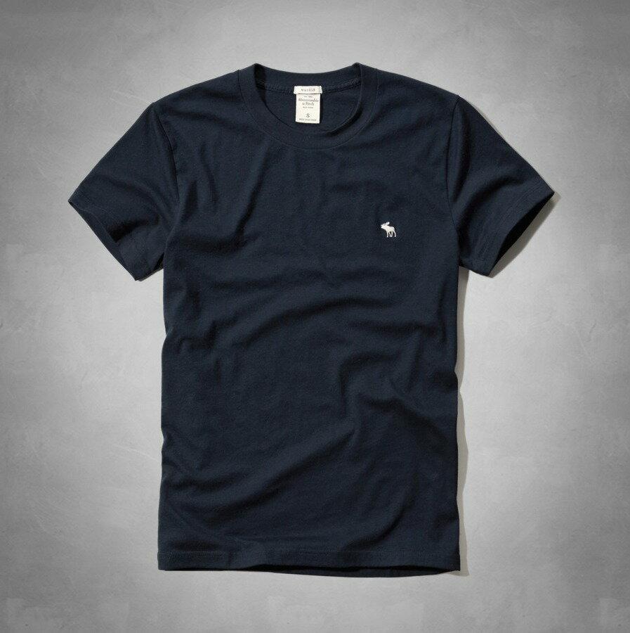 美國百分百【Abercrombie & Fitch】T恤 AF 短袖 上衣 T-shirt 麋鹿 深藍 素T S號 E709