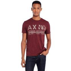 美國百分百【Armani Exchange】T恤 AX 短袖 上衣 logo 文字 T-shirt 酒紅色 XS S號 E821
