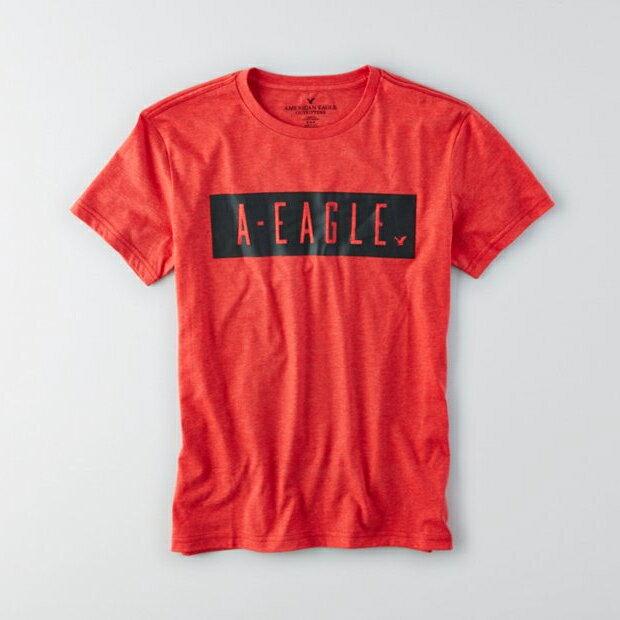 美國百分百【American Eagle】T恤 AE 短袖 上衣 T-shirt 老鷹 S M號 紅色 男 F381
