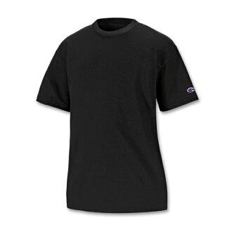 美國百分百【Champion】冠軍 T恤 短袖 T-shirt logo 素T 排汗 快乾 高磅數 黑色 XS S號 F386