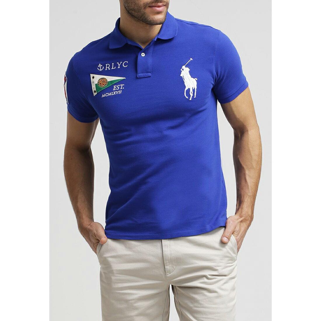 美國百分百【Ralph Lauren】Polo衫 RL 短袖 Polo 大馬 寶藍 旗幟 國旗 男 M號 C791