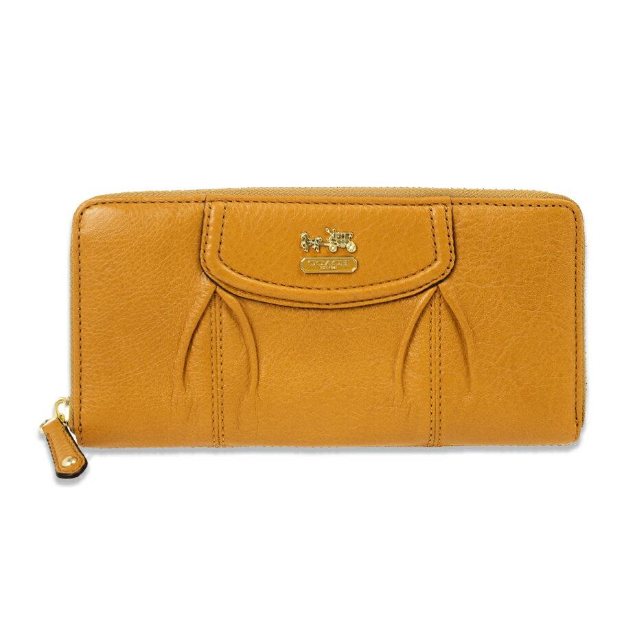 美國百分百【全新真品】COACH 46601 長夾 女款 皮夾 錢包 皮包 馬車飾牌 手風琴拉鍊 專櫃 黃駝色 F399