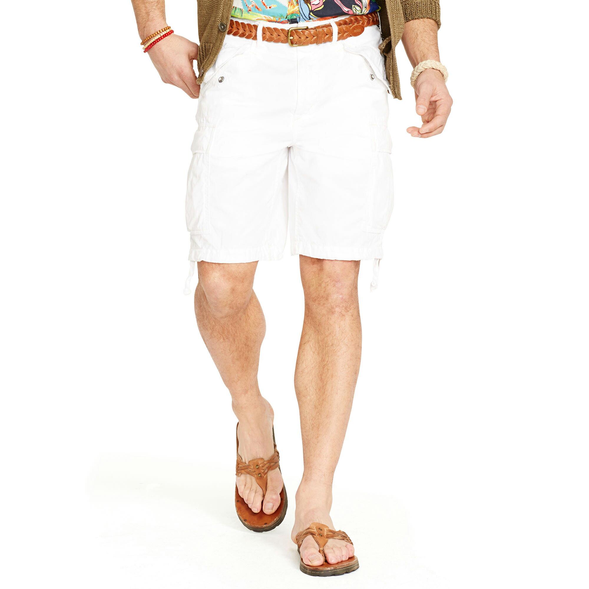 美國百分百【Ralph Lauren】褲子 RL 男褲 POLO 短褲 工作褲 休閒褲 棉麻 白 28 32腰 F420