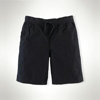 美國百分百【Ralph Lauren】棉褲 短褲 休閒褲 褲子 Polo 運動 抽繩 RL 小馬 男 深藍 S F425