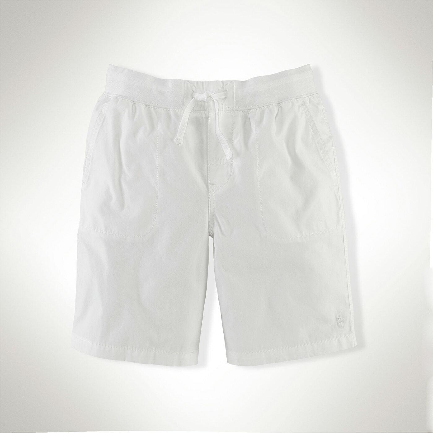 美國百分百【Ralph Lauren】棉褲 短褲 休閒褲 褲子 Polo 運動 抽繩 RL 小馬 男 白色 S F425