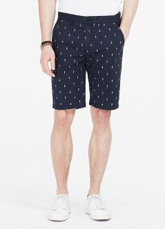 美國百分百【Armani Exchange】短褲 AX 褲子 休閒褲 五分褲 復古 滿版 泳裝女 深藍色 28腰 F426