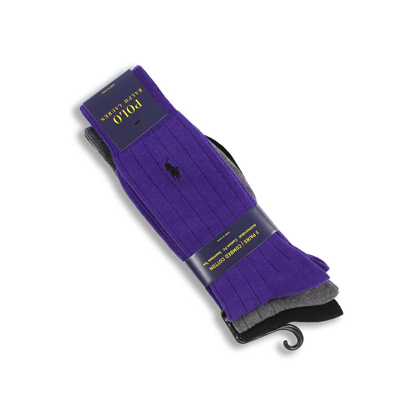 美國百分百【全新真品】Ralph Lauren 襪子 中筒 長筒 短襪 RL POLO 黑 紫 灰 三件裝 現貨 男襪