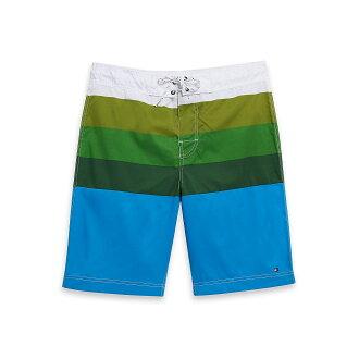 美國百分百【Tommy Hilfiger】海灘褲 TH 男 短褲 泳褲 沙灘褲 衝浪褲 條紋 白色 綠 藍 L號 F193