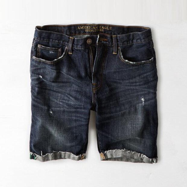 美國百分百【American Eagle】AE 牛仔 短褲 五分褲 牛仔褲 單寧 刷色 抓破 破壞 深藍 28 29 31 32腰 F453