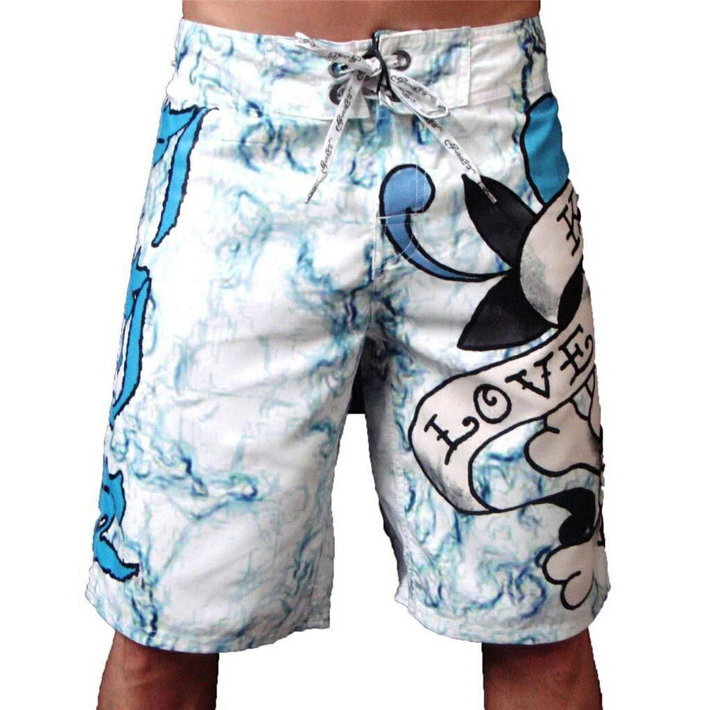 美國百分百【全新真品】ED Hardy 海灘褲 ED 短褲 休閒褲 衝浪褲 愛殺 褲子 男褲 白 專櫃經典款 31腰 F464