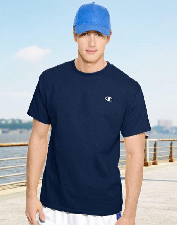 美國百分百【Champion】冠軍 T恤 短袖 T-shirt logo 素T 高磅數 排汗 快乾 深藍色 S M號 F465