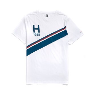 美國百分百【Tommy Hilfiger】T恤 TH 男 T-shirt 短袖 短T V領 彩帶 白 復古 M L號 F467