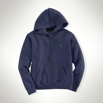 美國百分百【Ralph Lauren】RL 男 連帽 薄外套 棉質 帽T 夾克 小馬 藍灰 POLO S號 B038