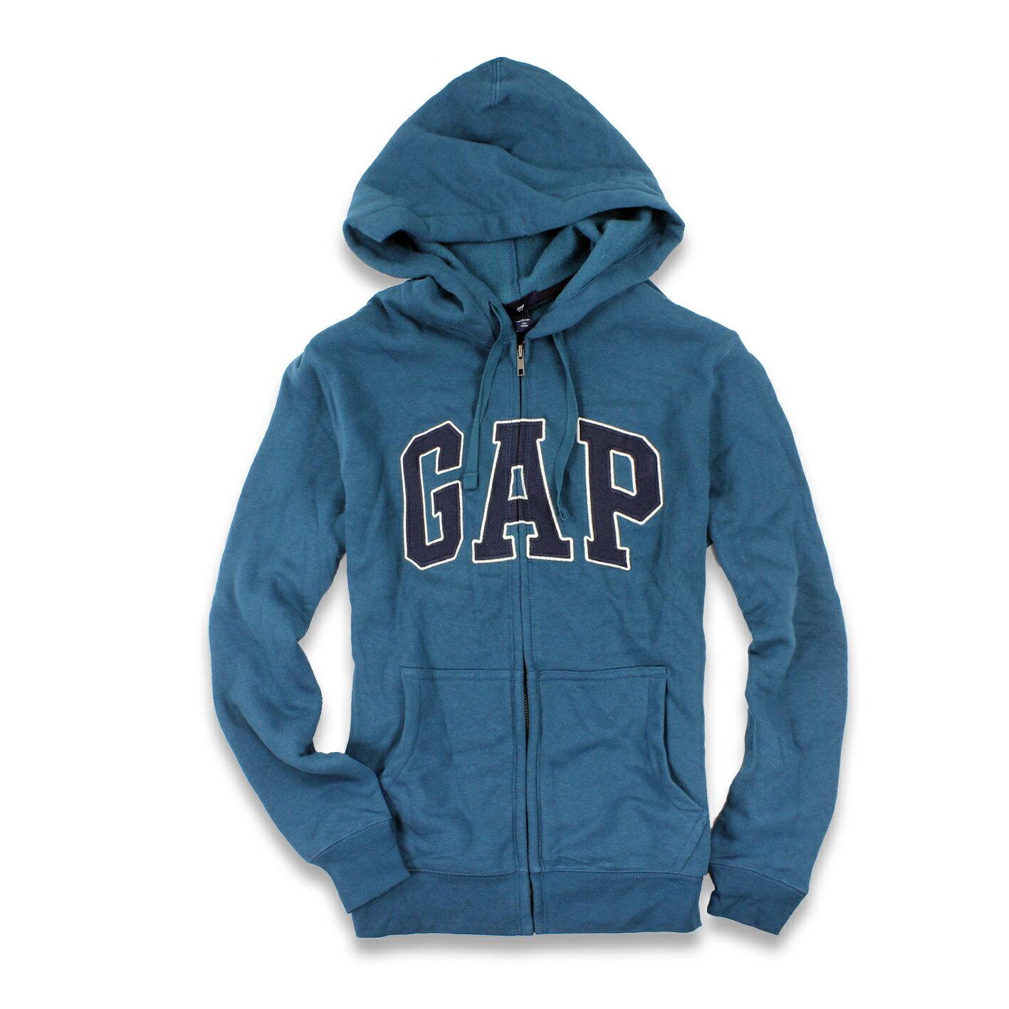 美國百分百【全新真品】GAP 外套 上衣 長袖 連帽 LOGO 貼布 刷毛 青藍色 現貨 男 XS S號 E927