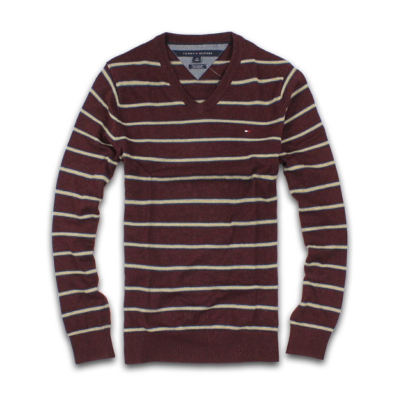 美國百分百【全新真品 】Tommy Hilfiger 針織衫 TH 線衫 上衣 酒紅 條紋 V領 毛衣 專櫃款 S號 F302