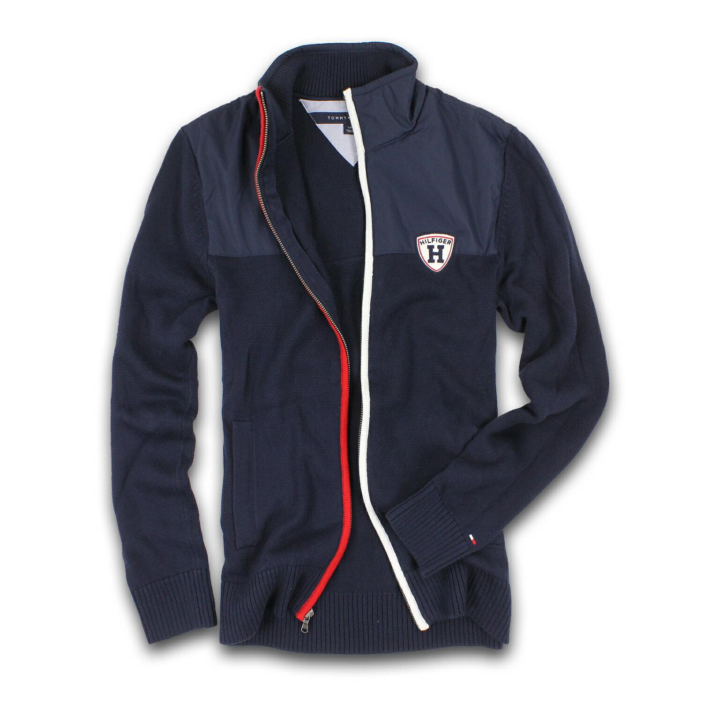 美國百分百【全新真品】Tommy Hilfiger 外套 夾克 TH 立領 針織 尼龍 深藍 拼接 男 S號 F304