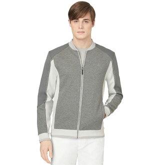 美國百分百【全新真品】Calvin Klein 外套 CK 夾克 拼接 棒球 騎士 布勞森 灰色 男 M號 F305