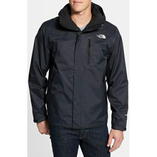 美國百分百【The North Face】外套 TNF 連帽 夾克 Hyvent 防水 兩件式 透氣 黑 M號 F307