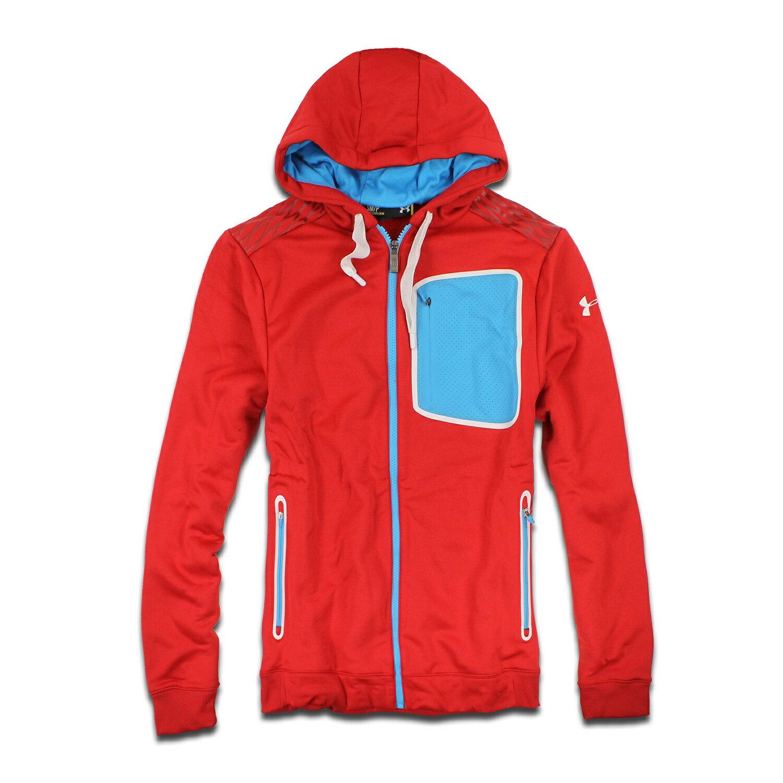 美國百分百【全新真品】Under Armour 運動時尚 UA 外套 跑步 夾克 透氣 刷毛 紅色 排汗 S號 F309