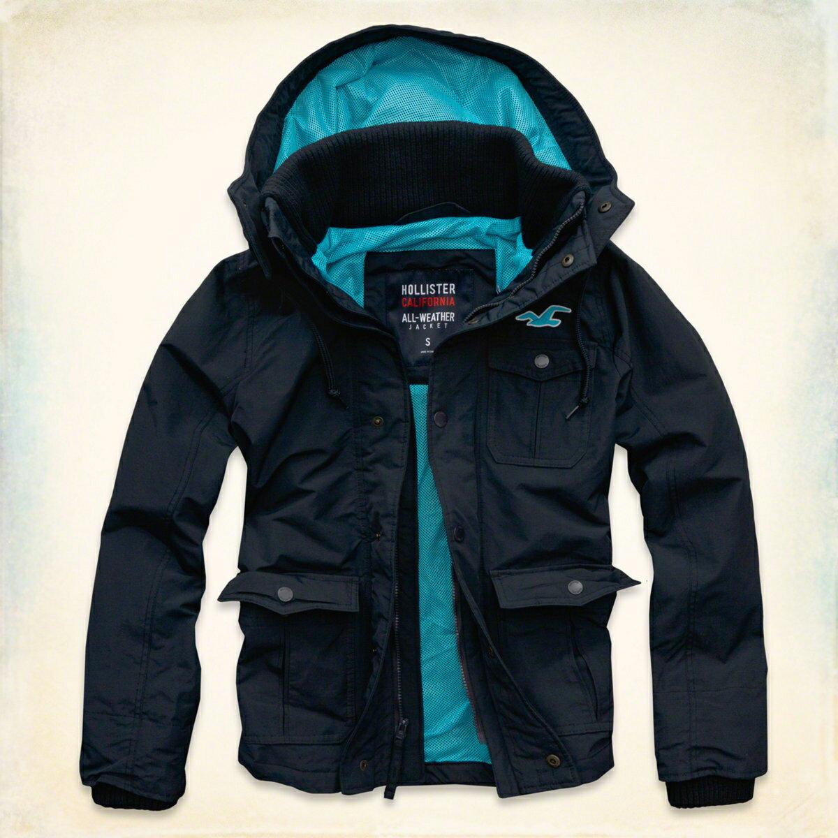 美國百分百【Hollister Co.】HCO 海鷗 男 深藍 休閒 網格 保暖 立領 風衣 連帽 外套 S號 F441