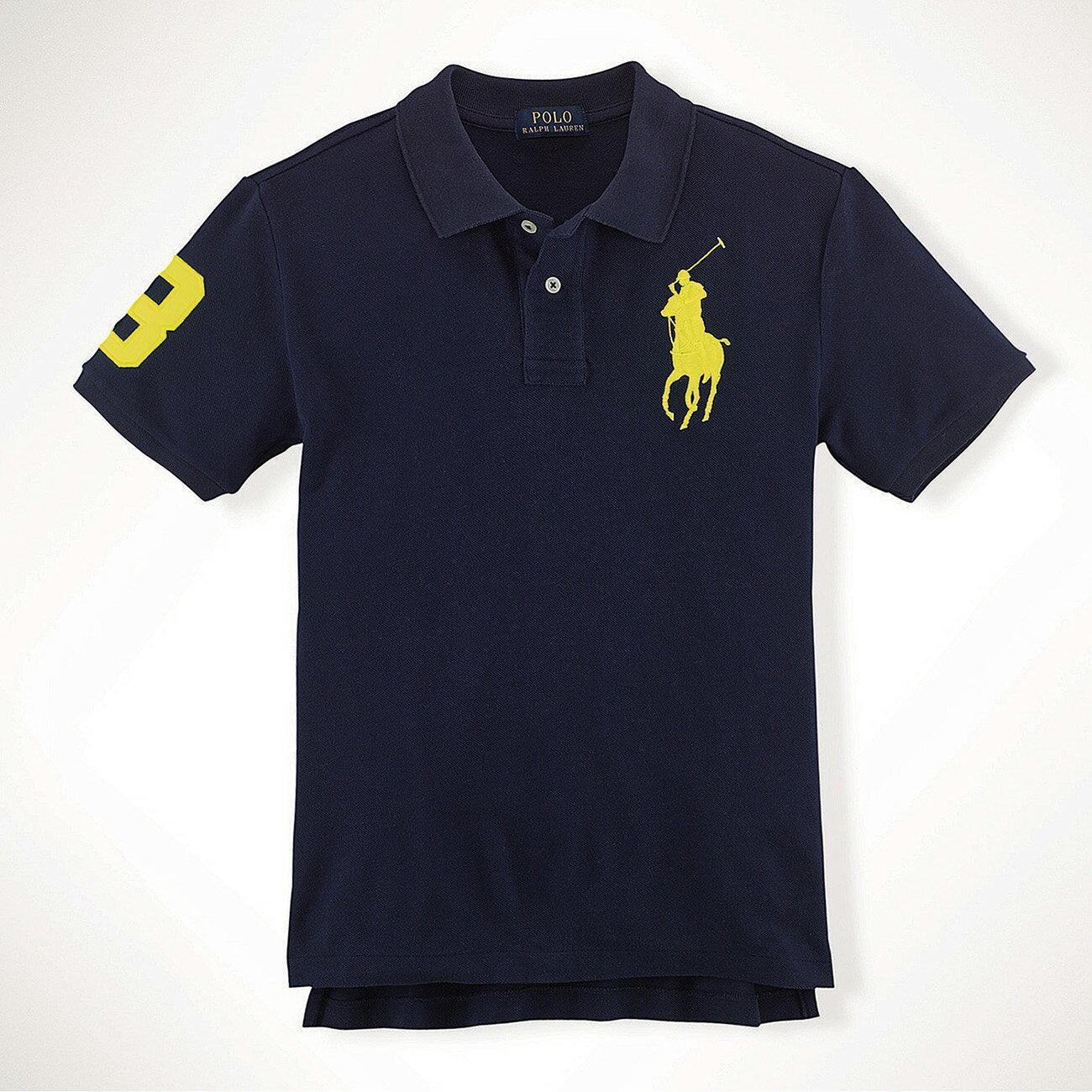 美國百分百【Ralph Lauren】Polo 衫 RL 短袖 網眼 大馬 素面 深藍 黃馬 男 S XS號 B003