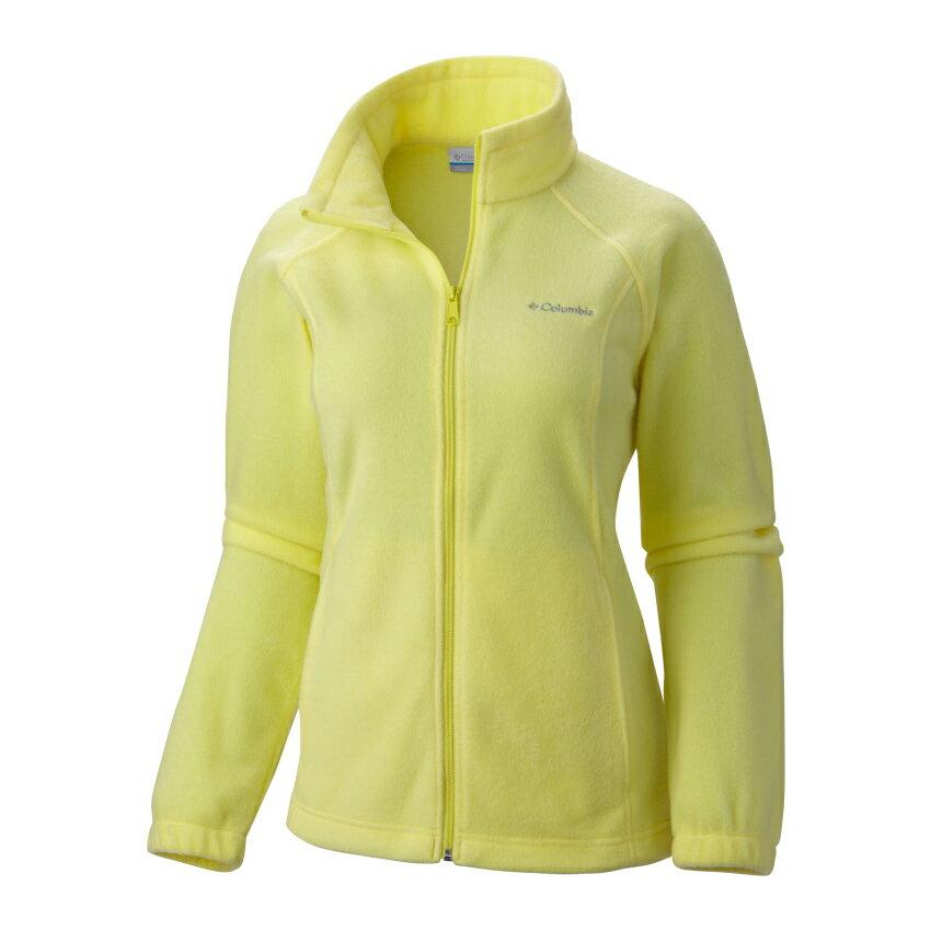 美國百分百【全新真品】Columbia 外套 刷毛 立領 輕巧 fleece 保暖 哥倫比亞 螢光黃 女 S號 B534