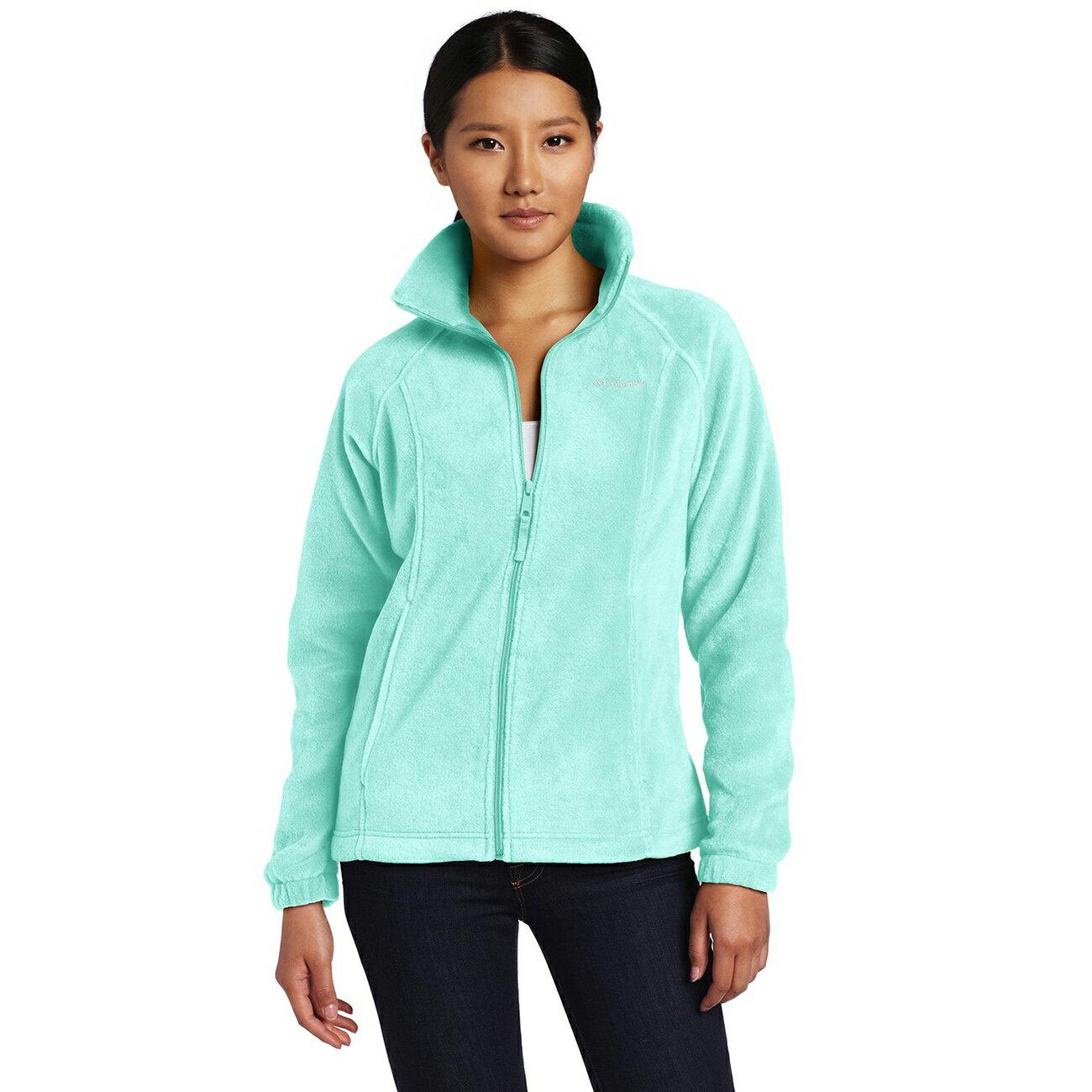 美國百分百【全新真品】Columbia 外套 刷毛 立領 輕 fleece 保暖 哥倫比亞 湖水綠 女 XS號 B534
