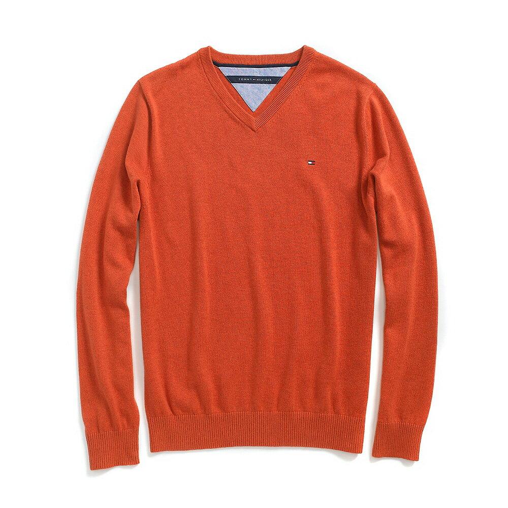 美國百分百【全新真品】Tommy Hilfiger 針織衫 TH 線衫 V領 素面 純棉 毛衣 焦糖 橘 S號 B606