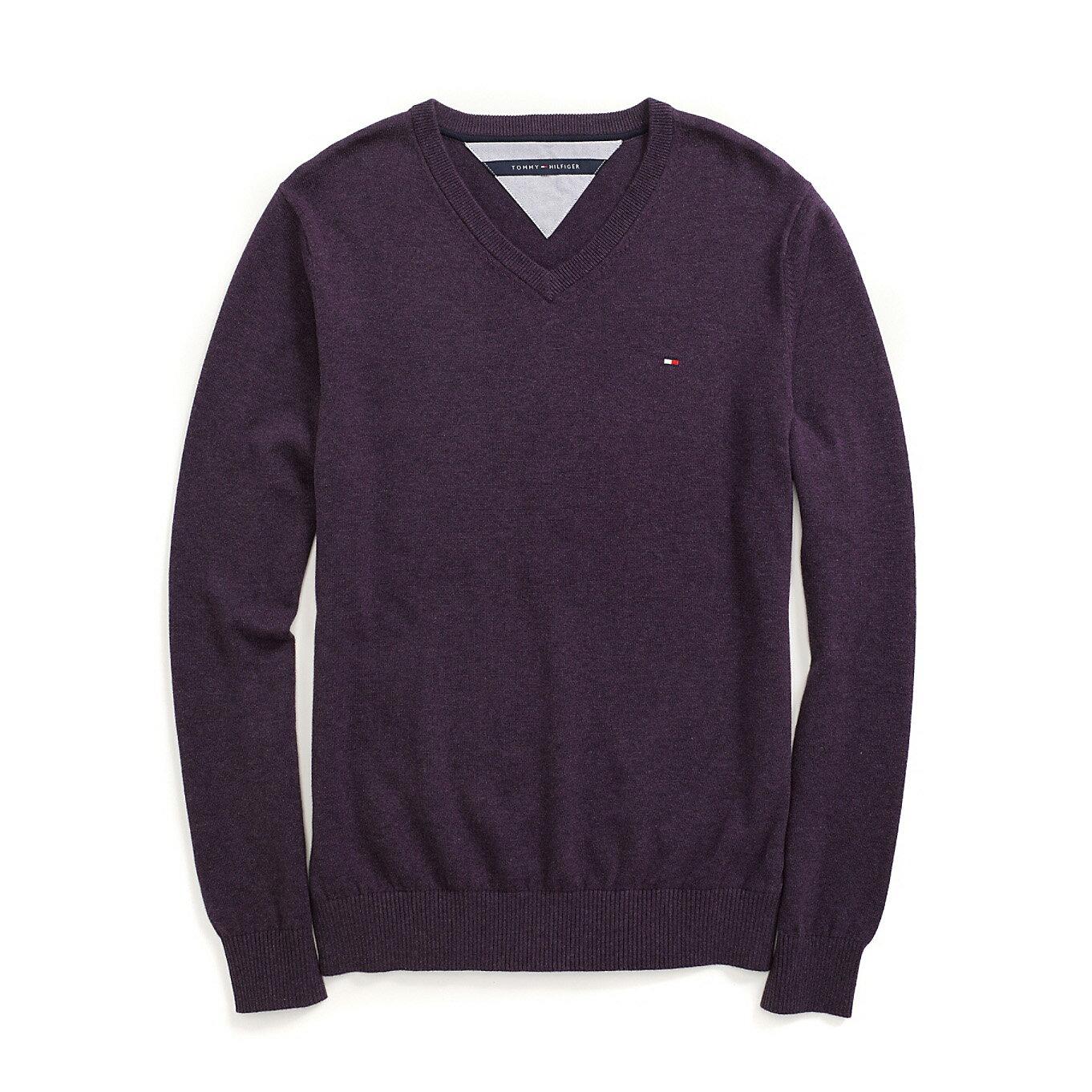 美國百分百【全新真品】Tommy Hilfiger 針織衫 TH 線衫 V領 素面 純棉 毛衣 葡萄紫 S號 B606