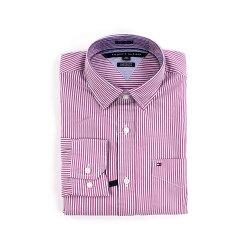 美國百分百【全新真品】Tommy Hilfiger 襯衫 TH 上衣 男衣 長袖 襯衫 條紋 粉紅 白色 XXS  XS號 F400