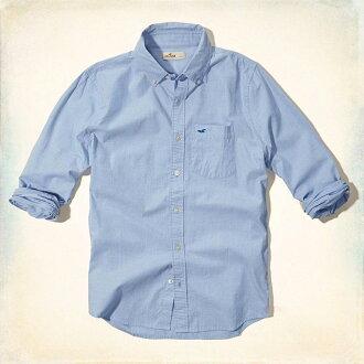 美國百分百【全新真品】Hollister Co. 襯衫 HCO 長袖 上衣 海鷗 水藍色 素面 口袋 男 S號 F472
