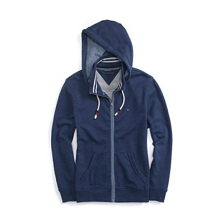 美國百分百【全新真品】Tommy Hilfiger 外套 TH 連帽 夾克 帽T 輕薄 立領 S L號 藏藍 F476