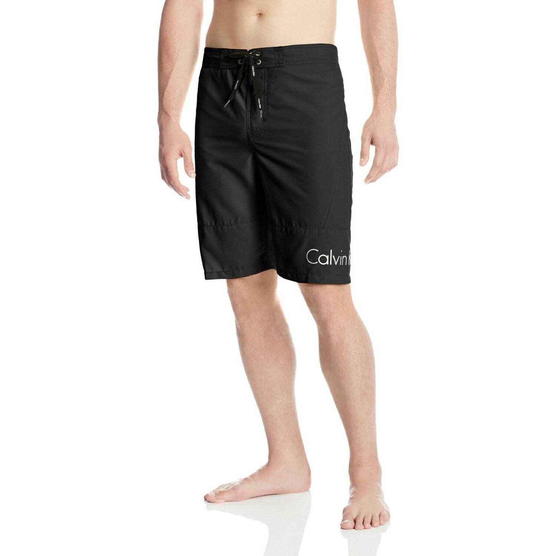 美國百分百【Calvin Klein】短褲 CK 休閒褲 海灘褲 泳褲 沙灘褲 衝浪褲 黑色 男 M號 F485