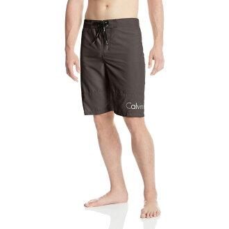 美國百分百【Calvin Klein】短褲 CK 休閒褲 海灘褲 泳褲 沙灘褲 衝浪褲 灰色 男 S號 F485