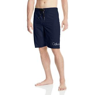美國百分百【Calvin Klein】短褲 CK 休閒褲 海灘褲 泳褲 沙灘褲 衝浪褲 深藍色 男 S號 F485
