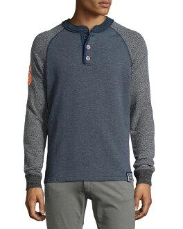 美國百分百【全新真品】Superdry 極度乾燥 T恤 T-shirt 亨利領 長袖 復古 S XL號 藍灰色 F488