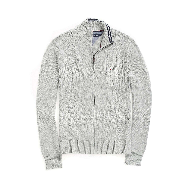 美國百分百【全新真品】Tommy Hilfiger 外套 TH 針織衫 線衫 長袖 灰色 素面 立領 男 S號 F492