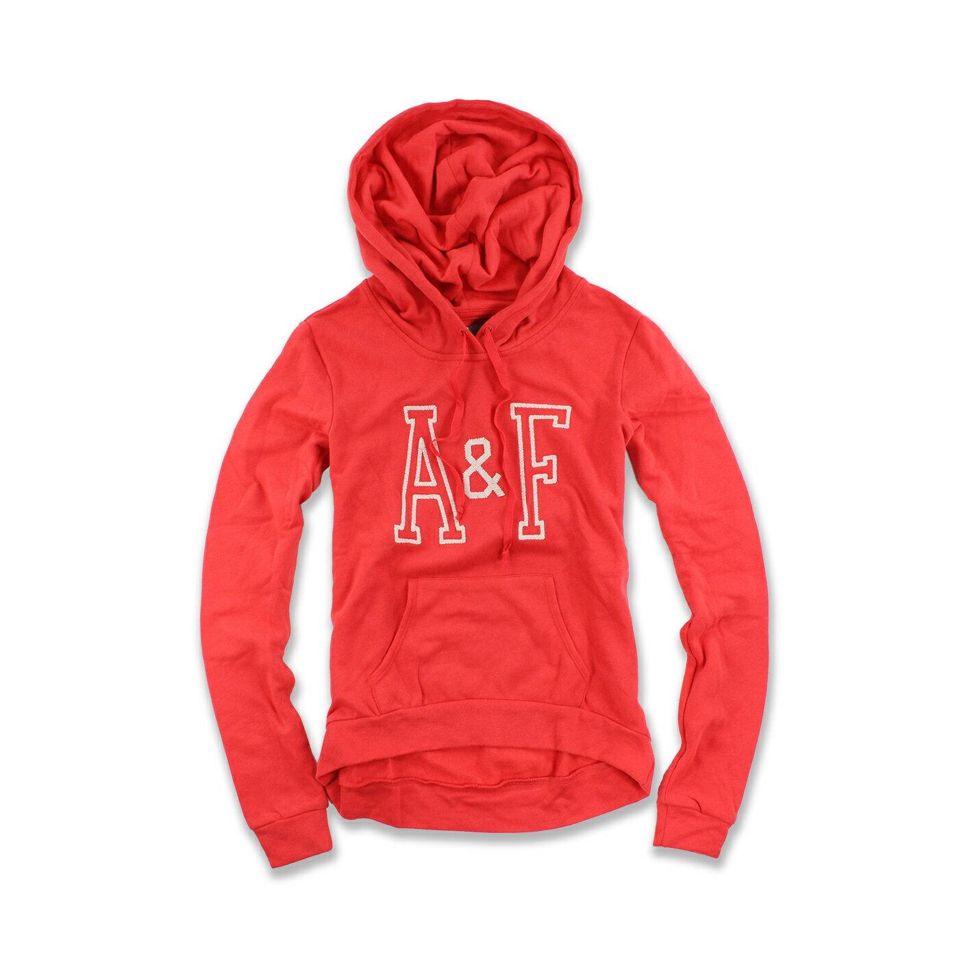 美國百分百【Abercrombie & Fitch】連帽 AF 帽T 麋鹿 logo 橘紅 長袖 女款 S號 F505