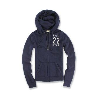 美國百分百【全新真品】Hollister Co. 外套 HCO 連帽 長袖 夾克 海鷗 深藍 22 女 S號 F508