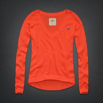 美國百分百【全新真品】Hollister Co. HCO 海鷗 V領 毛衣 針織衫 線衫 S號 女 亮橘 F514