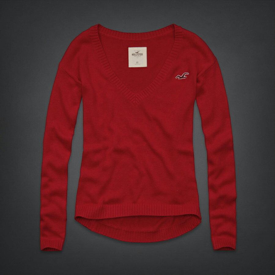 美國百分百【全新真品】Hollister Co. HCO 海鷗 V領 毛衣 針織衫 線衫 M號 女 紅色 F514