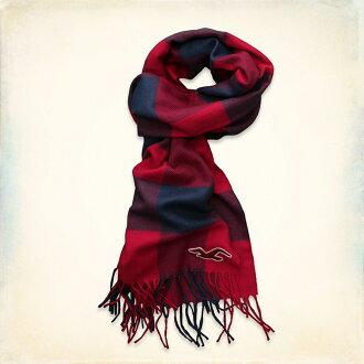 美國百分百【全新真品】Hollister Co 配件 HCO 海鷗 紅色 深藍 格紋 圍巾 百搭 披肩 男 女 F515
