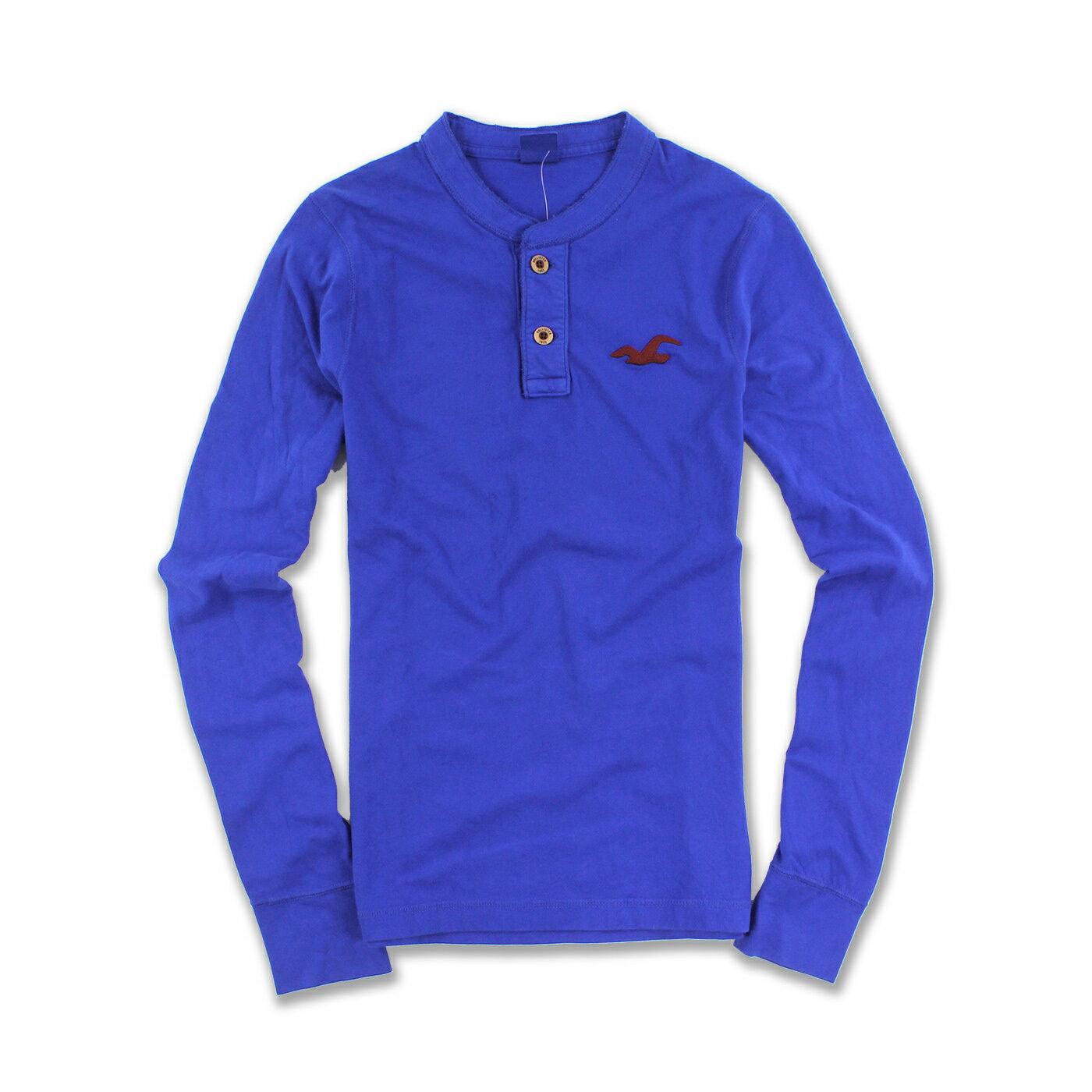 美國百分百【Hollister Co.】T恤 HCO 長袖 T-shirt 長T 海鷗 亨利領 寶藍色 S號 F552