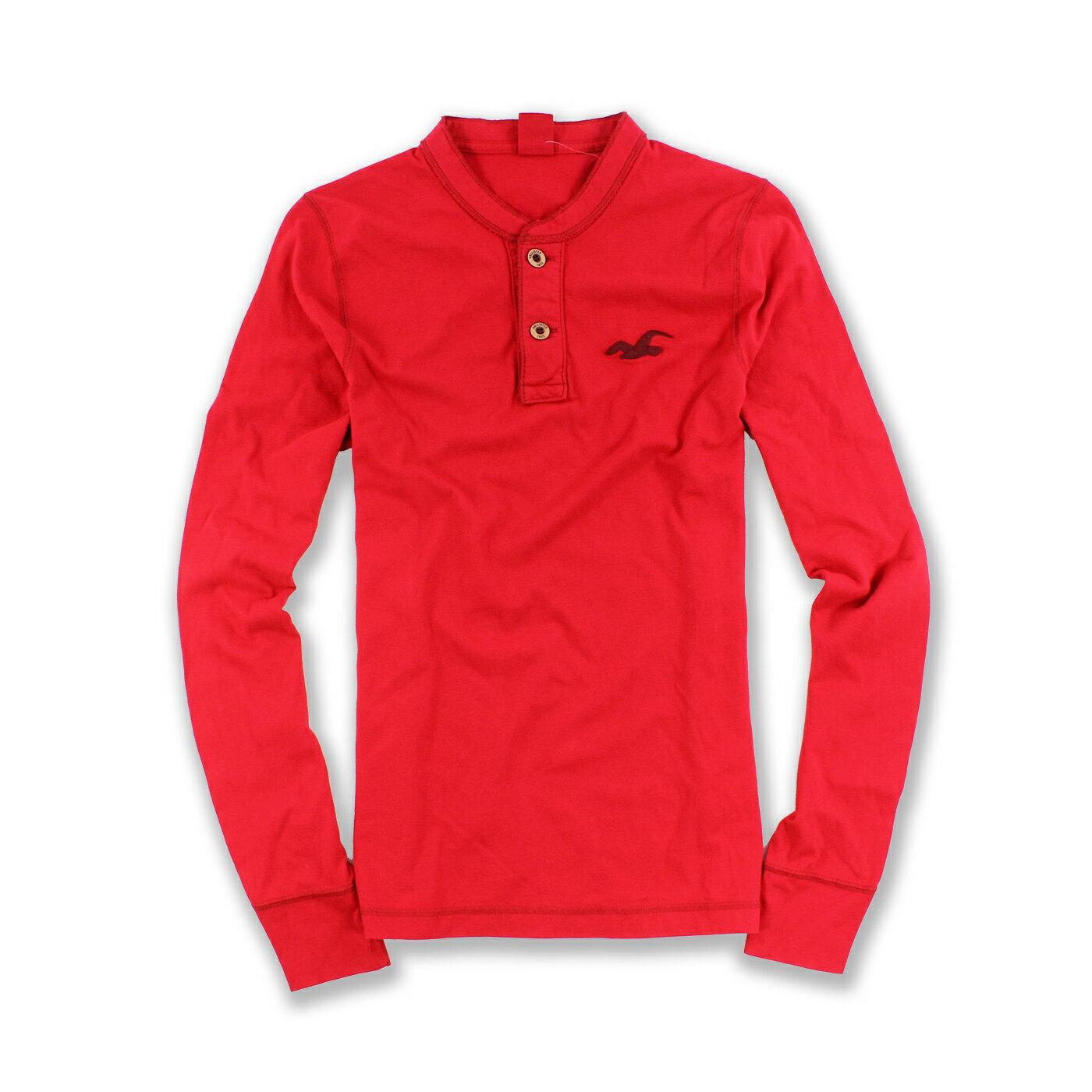 美國百分百【Hollister Co.】T恤 HCO 長袖 T-shirt 長T 海鷗 亨利領 紅色 S號 F552