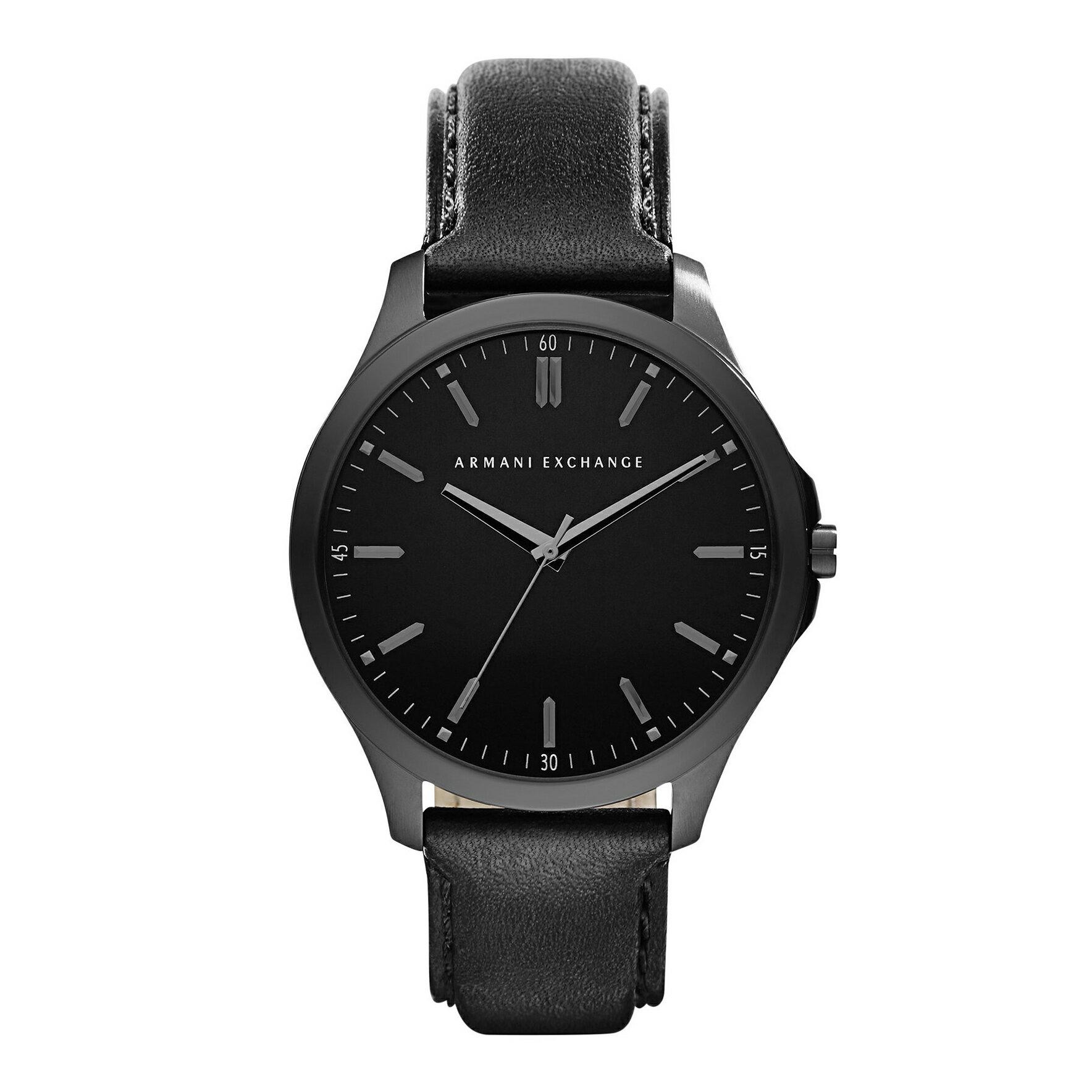 美國百分百【Armani Exchange】配件 AX 手錶 腕錶 大錶面 阿曼尼 不鏽鋼 全黑霧面 真皮錶帶 F401