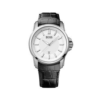 美國百分百【HUGO BOSS】配件 手錶 腕錶 男錶 鱷魚皮 壓紋 錶帶 石英機芯 紳士 雅痞 不鏽鋼 黑色 F405
