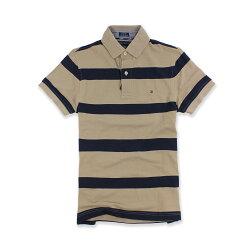 美國百分百【Tommy Hilfiger】Polo衫 TH 短袖 網眼 上衣 條紋 卡其色 深藍 XXS號 F536