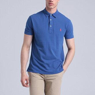 美國百分百【全新真品】Ralph Lauren Polo衫 RL 短袖 上衣 小馬 寶藍 網眼 素面 男 S號 F537